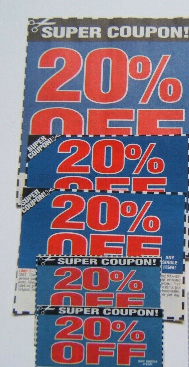 5 Harbor Freight 20 Off Super Coupons Lot July 30 2020 Later Expiration Dates - $4.99