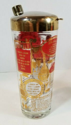 Vintage MCM Glass Cocktail Shaker with Recipes Red and Gold Barware