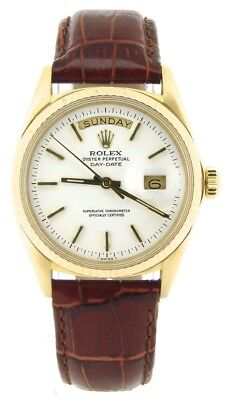 Mens Rolex Day-Date President 18K Yellow Gold Watch Brown Band White Dial 1803
