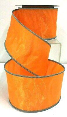 Satin Wired Orange Ribbon~Organza Overlay~Stitched Blue/Gray Edge~2 1/2