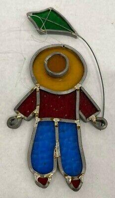 Vintage Handcrafted Leaded Stain Glass Boy Flying Kite Suncatcher Joplin (Glass Joplin Mo)