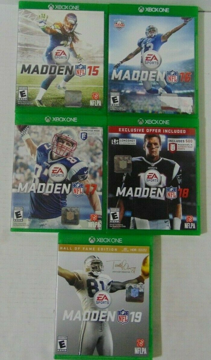 (5) Pack of Xbox One Games -Five Years of Madden 15, 16,17,18, and 19 Free Ship!