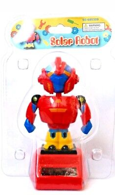 Solar Robot Red/Yellow/Blue Solar Powered Dancing Toy NEW