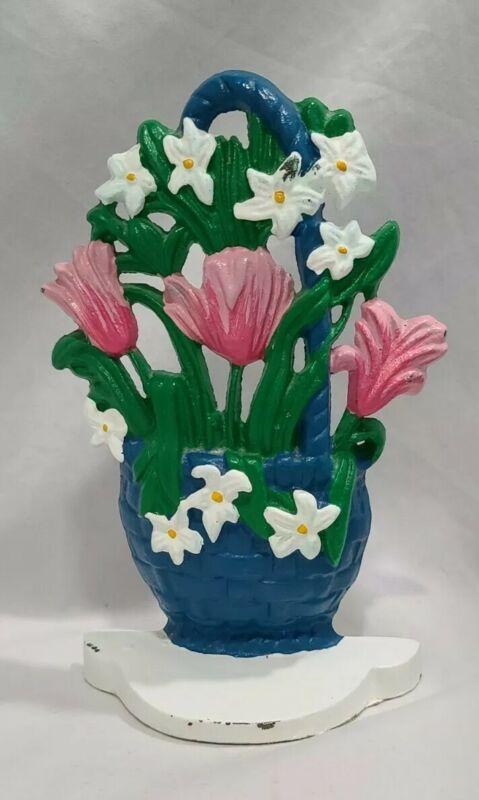 Antique Vintage Cast Iron Doorstop Mixed Flowers in Basket Bookend Daisies Tulip