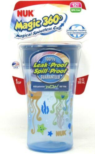 NUK Magic 360° Spoutless Cup 10oz Sippy Cup Blue Orange Sea Theme BPA Free 12m+
