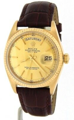 Mens Rolex Day-Date President 18K Yellow Gold Watch Brown Band Champagne 1803