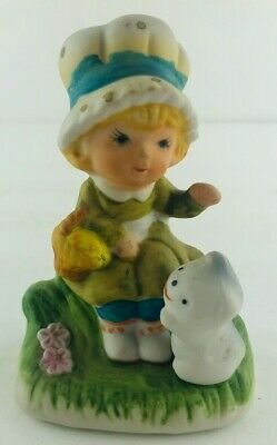 Vintage Blonde Girl with Bonnet Hat & Gray Cat Ceramic Bisque Figurine 4""