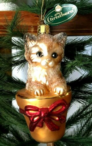 Christborn Sugary Kitten in Flowerpot Glass Christmas Tree Ornament  Germany