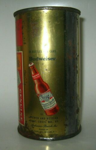 Old BUDWEISER FLAT TOP BEER CAN w/ Bottle on Side St. Louis, Missouri, Newark NJ