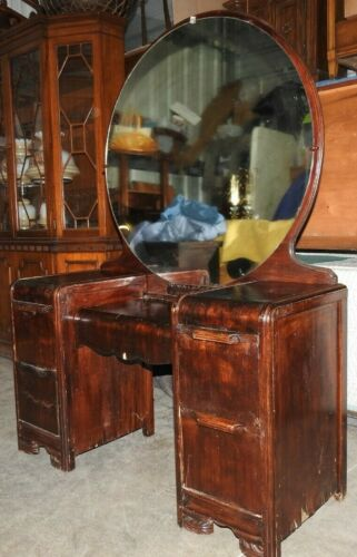 Antique Waterfall Makeup Vanity 4 Drawer Dresser With Detachable Rounded Mirror