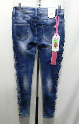 Realty Jeans Low Rise Skinny Bow Lace Side Detail Women's Size 8 M EU 38 Stretch