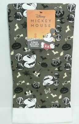Disney Mickey Mouse Kitchen Dish Towel Set 2 Pack Halloween Pumpkin Cauldron Bat