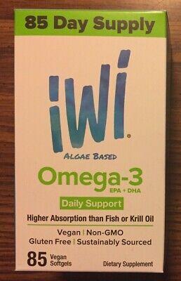 iWi Algae Based Omega-3 EPA+DHA Oil 85 One A Day Vegan Non-GMO Gluten Free U.S.A ()