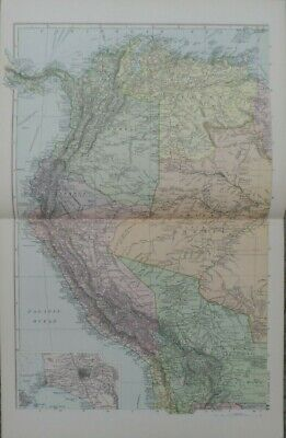 Antique map - South America N.W - printed paper 19th c - for framing - 35x54  cm