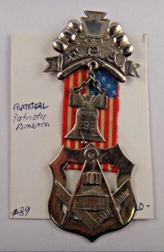 Patriotic America F. P. A. Fraternal Pin Pinback Badge Ribbon