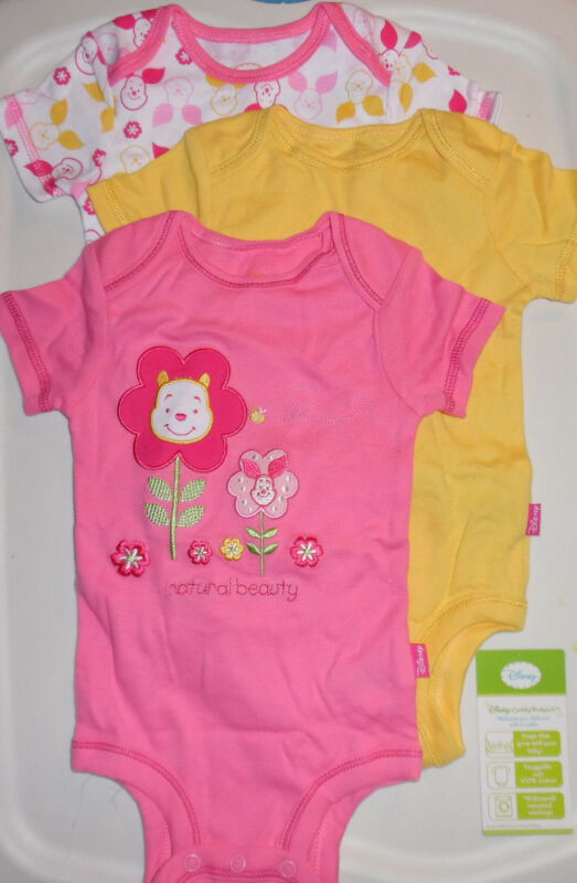 Disney Winnie the Pooh Bear 3 Cuddly Bodysuits Baby Infant Girl 3/6M Multi-Color