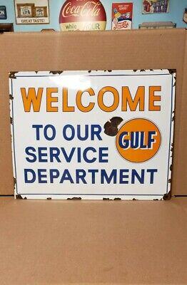 GULF gasoline porcelain sign gas pump plate vintage brand petroleum motor oil