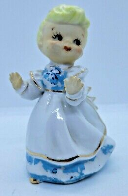 Vintage Home Decor Cottage Decor Shabby Decor Girl with Bunny Ceramic Figurine Glass Figurine Childrens Decor Girl in Bonnet
