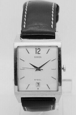 Ladies GUESS Steel Stainless Steel White Date Dial Black Leather Band 28mm -