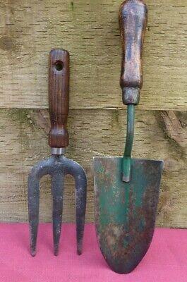 Vintage Garden Hand Fork & Trowel Allotment Old Tool