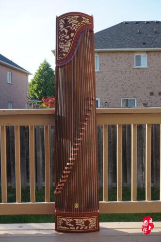 Dunhuang Guzheng, Chinese Zither Harp, 敦煌非洲檀木古箏 -- 雙鶴朝陽 -- 古筝