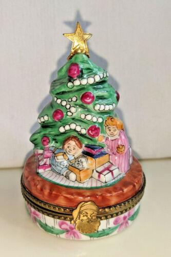 Limoges France Cesar Palma Peint Main Christmas Tree Trinket Box