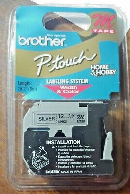 New Brother M931 P-touch Label Tape 12 Black On Silver 12mm Ptouch M-931