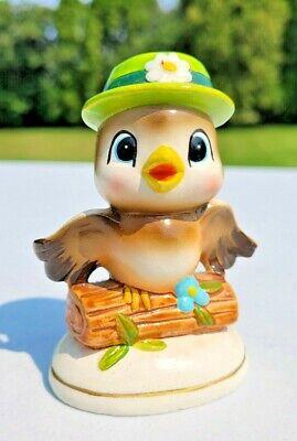 Vintage Owl or Bird Korea Figurine with Big Eyes and Green Flower Hat