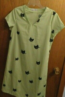 Misslook Green Black Cat Print Casual Lounge Dress Womens M](Black Cat Dress)