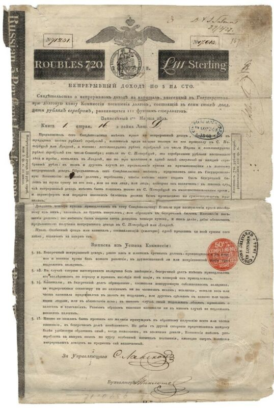Russian Bond Signed by Nathan M. Rothschild