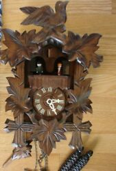 German Musical Cuckoo Clock Three Leaves Hand Carved Black Forest Germany