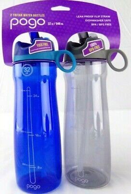 Pogo 32oz Tritan Chug Water Bottle 2 pack - Blue & Gray - NEW - Wholesale Bottled Water