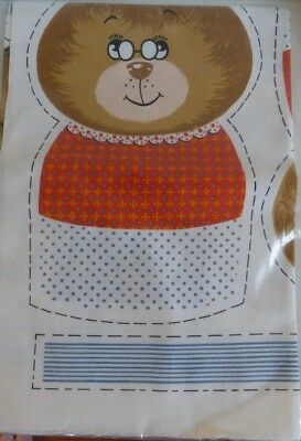Teddy Bear and Baby Pattern Instructions Pattern and Material Sewing Crafts Vintage