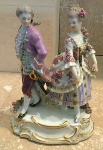 Meissen Dancing Couple Porcelain Figurine Makers Mark Numbered RARE