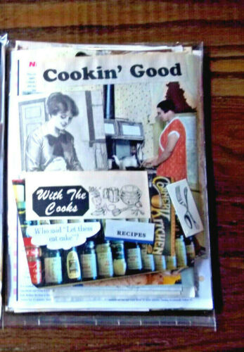 80 + LOT RECIPES CARDS  NEWSPAPER COOK BOOK PAGES COLLAGE JUNK JOURNALS BOOKS