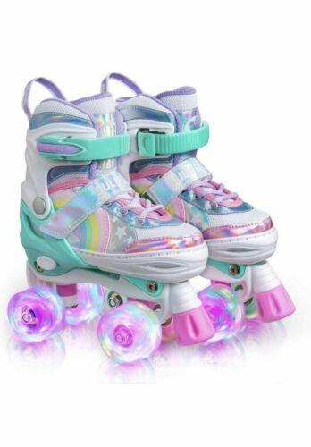 Sulifeel Rainbow Unicorn Small Adjustable Light up Roller Skates for Girls 3Y-6Y