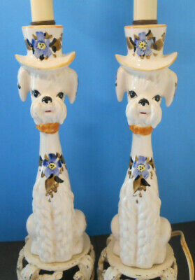 Lamp Pair Set (French POODLE LAMP pair set-Vintage Porcelain, Hand Painted--dog)