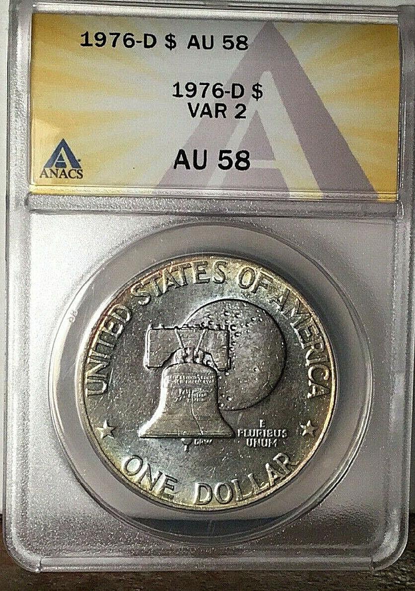 1976-D VAR-2 BICENTENNIAL EISENHOWER IKE DOLLAR REVERSE TONING AU-58 - $19.91