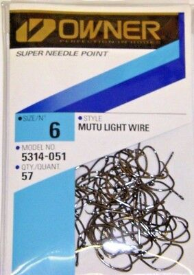 OWNER MUTU LIGHT WIRE CIRCLE HOOK SUPER NEEDLE POINT #5314-051 SIZE 6 QTY 57 ()