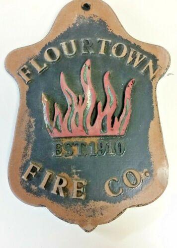 "Vintage Flourtown Volunteer PA Fire Department Plaque Pennsylvania 11"" x 8"""