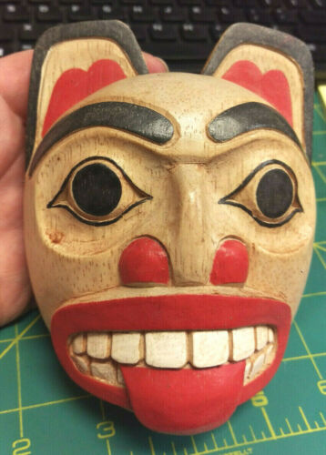 Wood Tribal Style Bear Mask - hand carved and hand painted - beautiful wood mask
