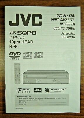 JVC  HR-XVC1U  SQPB 4 Head VHS/DVD Recorder Users Manual  Instruction Guide, used for sale  McAllen