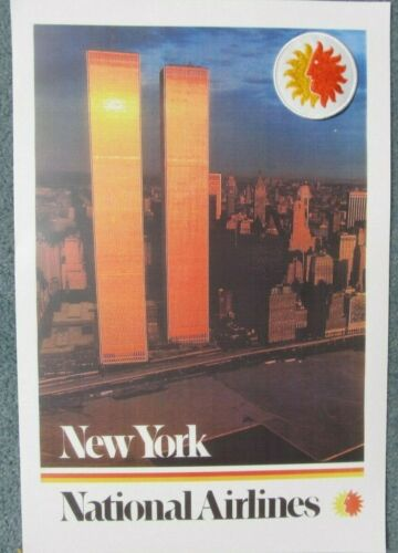 VINTAGE NATIONAL AIRLINES POSTER w/ TWIN TOWERS & NY CITY + NAL. SUN GOD PATCH