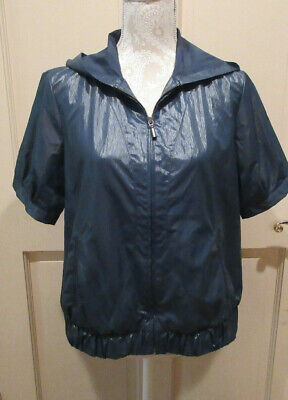 CHICOS ZENERGY Womens Jacket Size 1 M Short Sleeve Hooded Windbreaker Blue Light