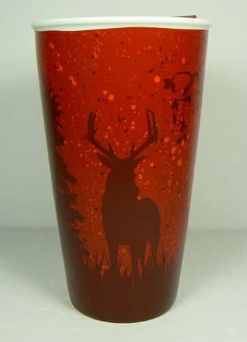 BRAND NEW 2017 TIM HORTONS TRAVEL MUG RED ELK DEER 12 OZ LE INSULATED