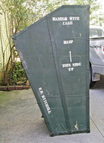 vintage Harp instrument case shipping crate Halloween  prop decoration