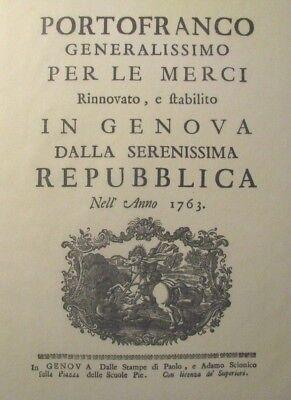 *RARE LTD/ED. REP. 1763 *PORTOFRANCO GENERALISSIMO* - GENOA ITALY – ILLUSTRATED*
