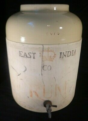 Vintage 1920 East India Co RUM Crock ORIGINAL METAL SPOUT Corona Stoneware RARE -