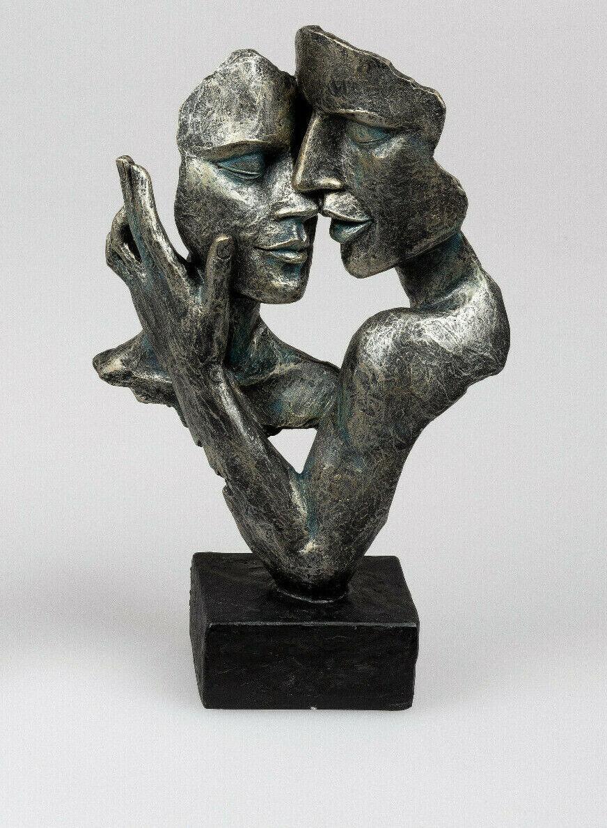formano Skulptur Dekoobjekt Schwarz /Anthrazit Goldfinish Maske Hochzeit/Liebe
