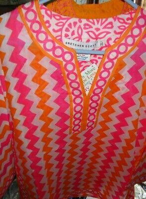 NEW WOMEN'S TUNIC SHIRT GRETCHEN SCOTT PINK ORANGE CHEVRON SZ XS X-SMALL NWT](Pink Chevron)